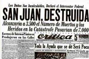 Efemérides: 15 de enero de 1944, Terremoto en San Juan